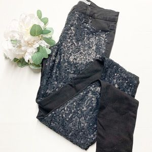2/$15 Tractr black sequin front skinny jeans 26